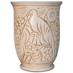 Superb Art Deco Vase with Tropical Bird Motif, George Condé for Mougin, France