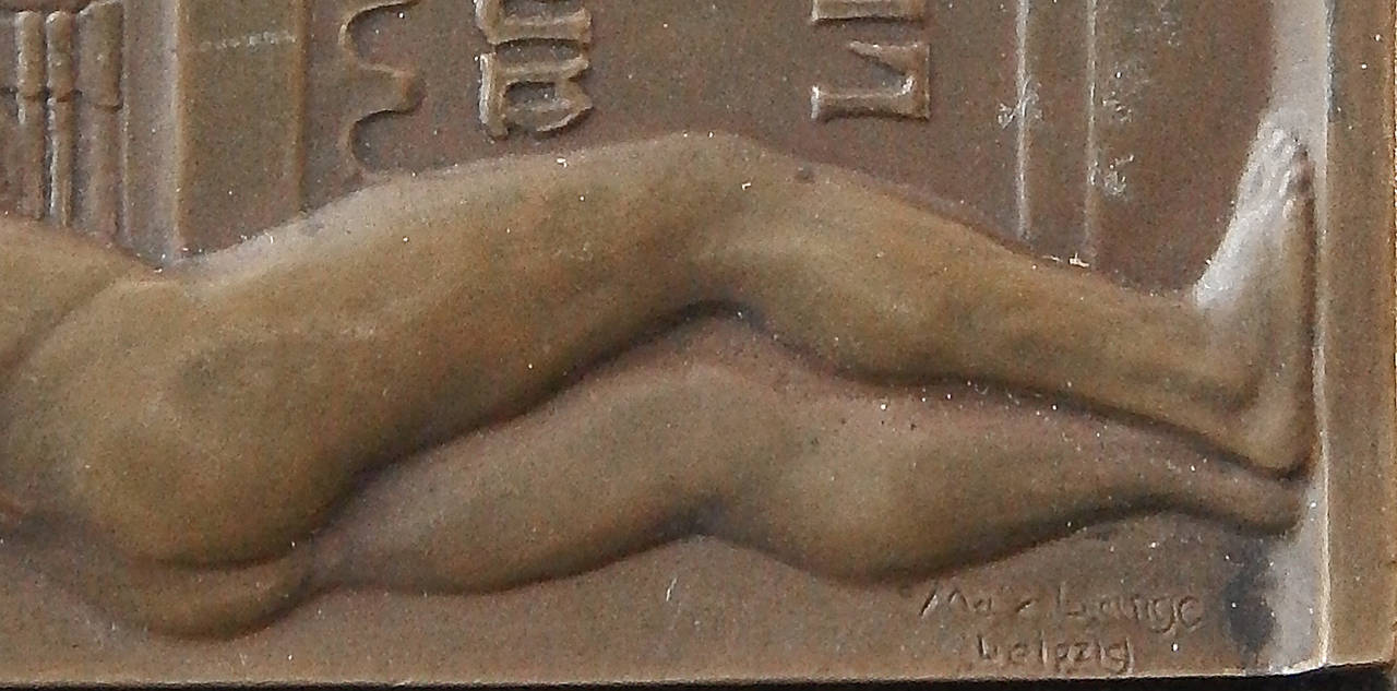 Cast Rare Bronze Paperweight Celebrating 500th Anniversary of Leipzig Univ, 1909 For Sale