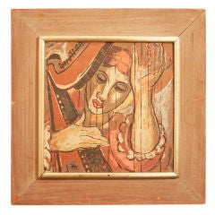 """Harpist,"" 1930s Serigraph by Lena Gurr"