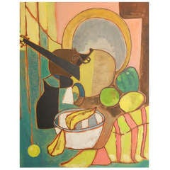 """""""Cubist Still Life with Violin,"""" Fine Example of Late Cubism"""