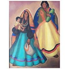 """Navajo Women,"" Important WPA-era Painting by Frances Badger"