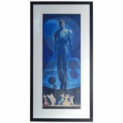 """""""Floating Man,"""" Important Art Deco Painting with Nude Male by Dunbar Beck"""