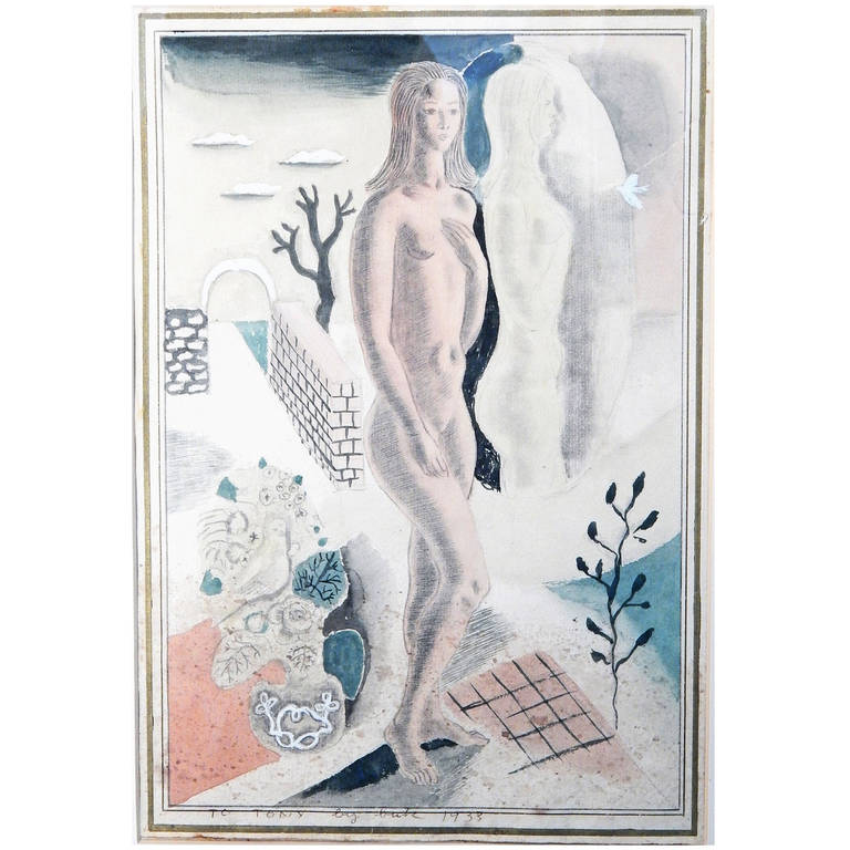 """Nude in Surreal Landscape,"" Important Art Deco Painting by Radio City Artist For Sale"
