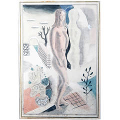 """Nude in Surreal Landscape,"" Important Art Deco Painting by Radio City Artist"