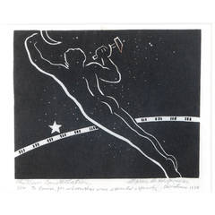 """The New Constellation,"" Rare Art Deco Print with Male Nude by de Hospodar"
