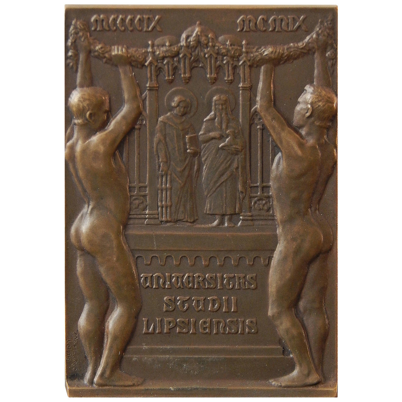 Rare Bronze Paperweight Celebrating 500th Anniversary of Leipzig Univ, 1909 For Sale