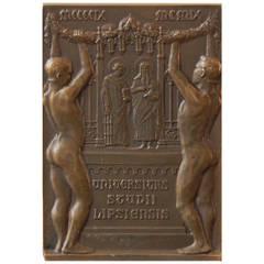 Rare Bronze Paperweight Celebrating 500th Anniversary of Leipzig Univ, 1909
