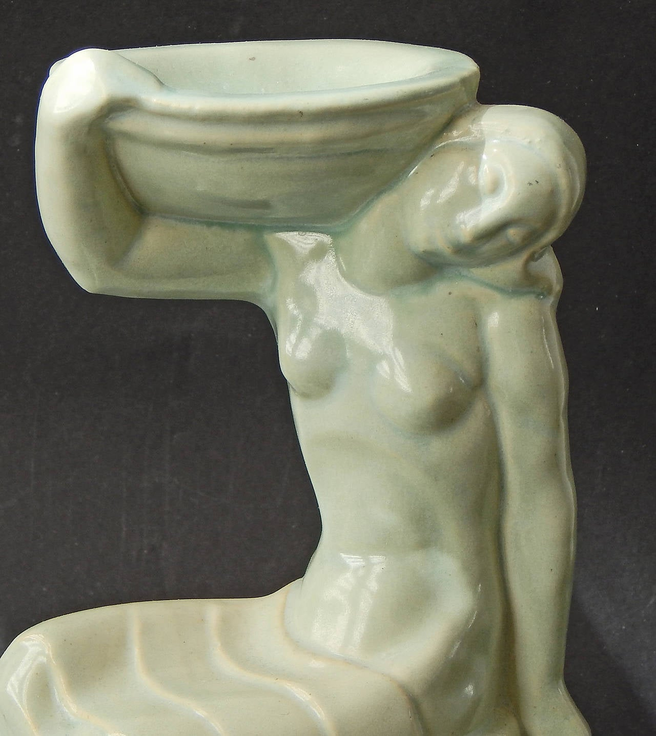 """Glazed """"Nude with Bowl,"""" Rare Art Deco Sculpture by Solon for Amer, Encaustic For Sale"""