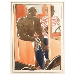 """On the Job,"" Watercolor Painting of Black Laborers"