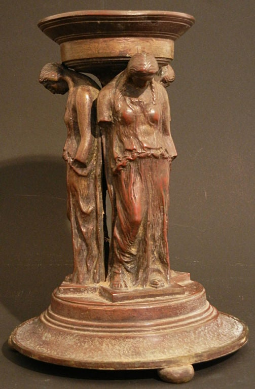 "American ""Caryatids,"" Important, Rare Bronze by Oscar Bach For Sale"