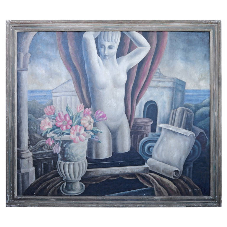 """Classical Nude with Flowers and Temple,"" Important WPA Period Painting"