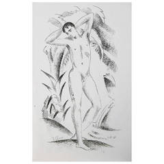 """""""Standing Nude with Upraised Arms,"""" Important Art Deco Print by Eberz"""