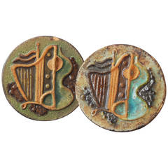 """Harp and Guitar,"" Fabulous Cubist-Art Deco Bas Relief Plaques, Terra Cotta"
