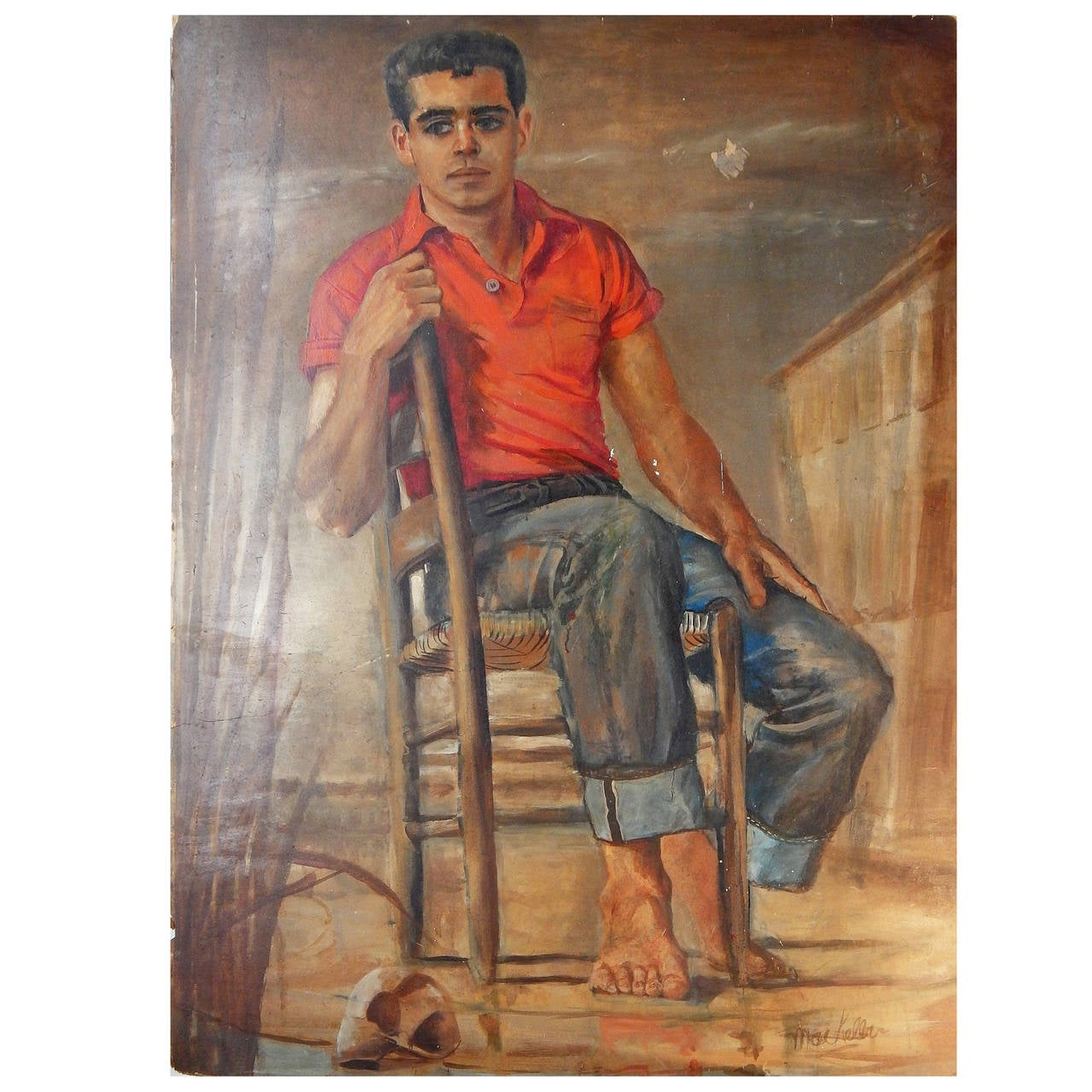 """Youth in Red Polo,"" Portrait of Seated Male Figure, 1950s"