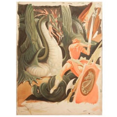 """Slaying the Dragon,"" Art Deco Watercolor Painting"
