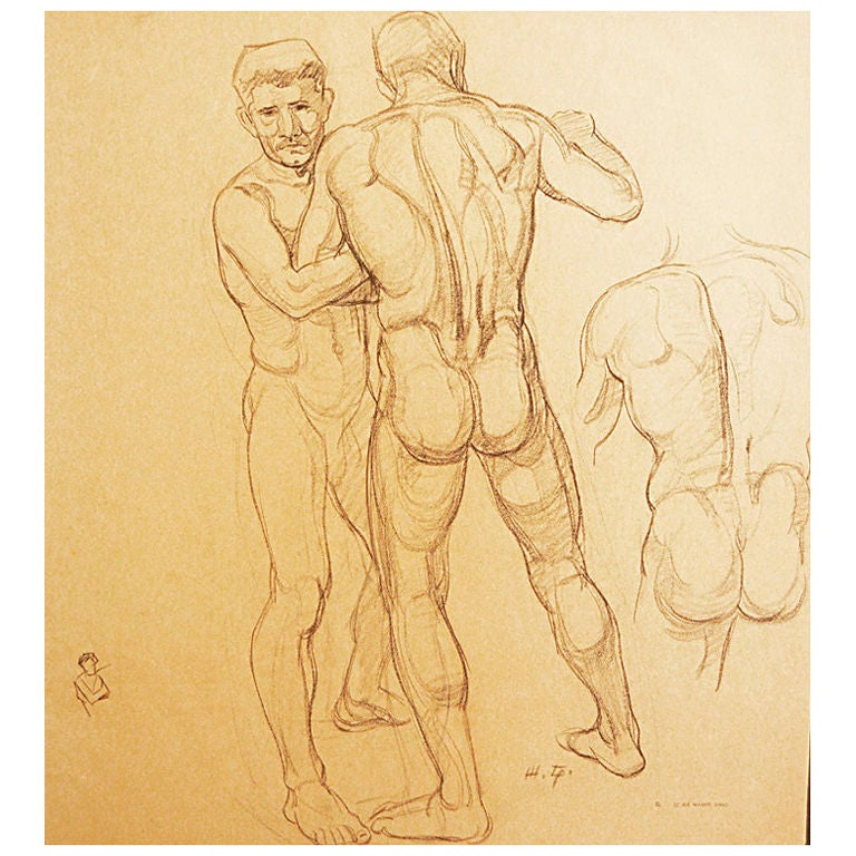 Study of Wrestling Male Nudes by Waano Gano For Sale