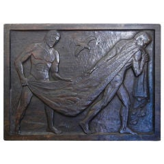 """Bringing in the Haul,"" Nude Fishermen by WPA Sculptor"