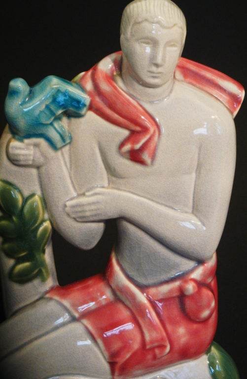 Male and Female Figures with Doves, Rare Art Deco Sculptures In Excellent Condition For Sale In Philadelphia, PA
