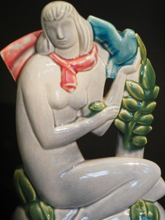 Male and Female Figures with Doves, Rare Art Deco Sculptures For Sale 1