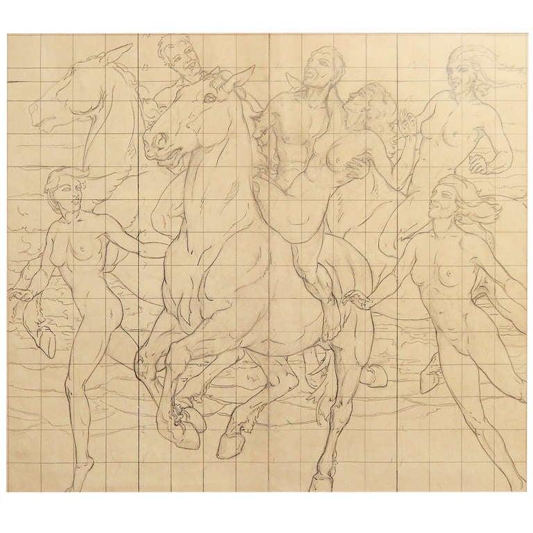 """Frolic on Horseback,"" Mural Study w/ Nudes by Kenneth MacIntire"