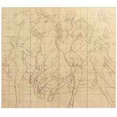 """Frolic on Horseback,"" Mural Study w/ Nudes by Kenneth MacIntire"