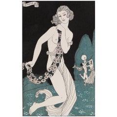 """""""Bacchanale,"""" Early Art Deco Pochoir by George Barbier, 1923"""