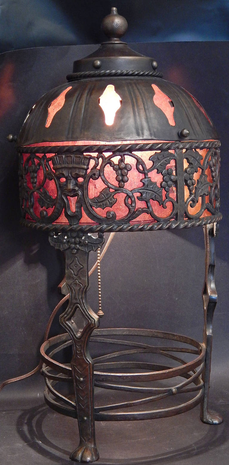 Rare Bronze and Mica Lamp by Oscar Bach, with Grape and Mask Motif 2