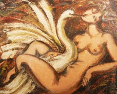 """Leda and the Swan,"" Important Painting by Rene Buthaud"
