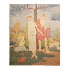 """""""Arcadian Scene,"""" Art Deco Painting by Ferol Sibley Warthen"""