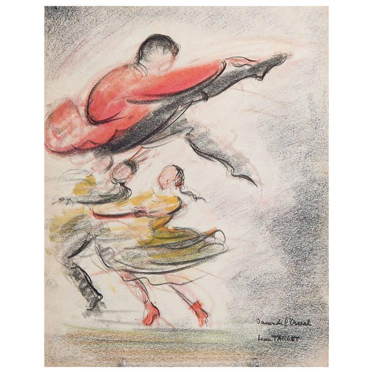 """Ukrainian Dancers,"" Art Deco Drawing by Jean Target, 1930s"
