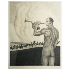 """Eroica,"" Rare Print with Nude Male Figure by Paunzen"