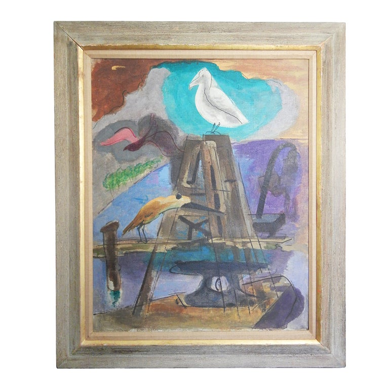 """""""Dockside with Seagull,"""" Important Painting by WPA Artist Stull"""