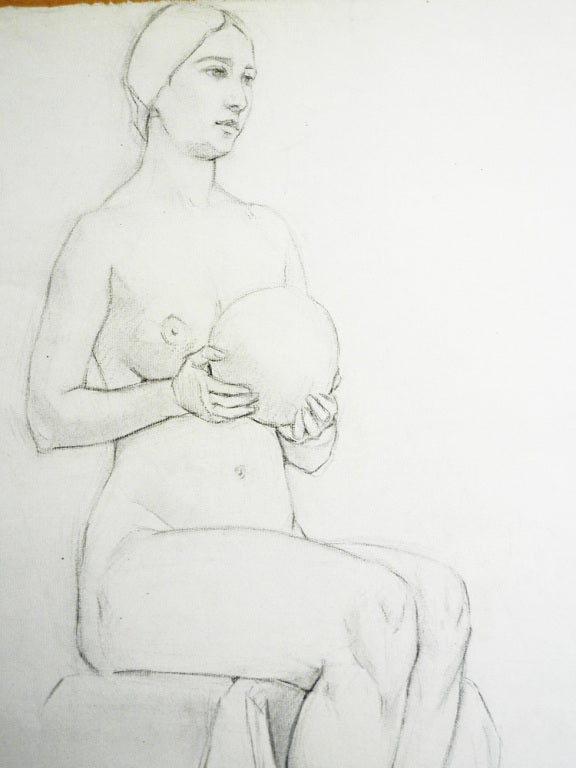 "American ""Female Nude with Ball,"" Drawing by Waano-Gano For Sale"