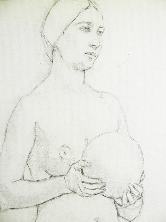 """Female Nude with Ball,"" Drawing by Waano-Gano In Excellent Condition For Sale In Philadelphia, PA"