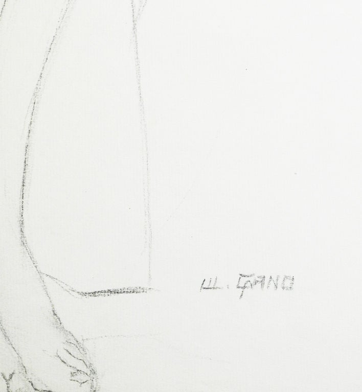 "Mid-20th Century ""Female Nude with Ball,"" Drawing by Waano-Gano For Sale"