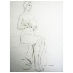 """Female Nude with Ball,"" Drawing by Waano-Gano"