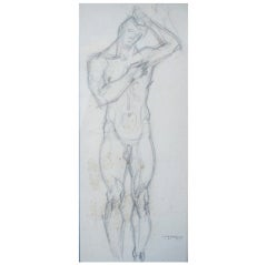 """Standing Male Nude,"" Pencil Drawing by Littlefield, 1937"