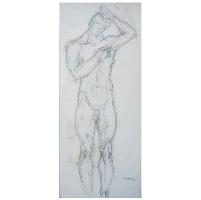 """""""Standing Male Nude,"""" Pencil Drawing by Littlefield, 1937"""