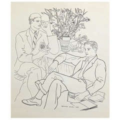 """""""Two Gentlemen with Books,"""" Rare and Fine Drawing by Prieto"""