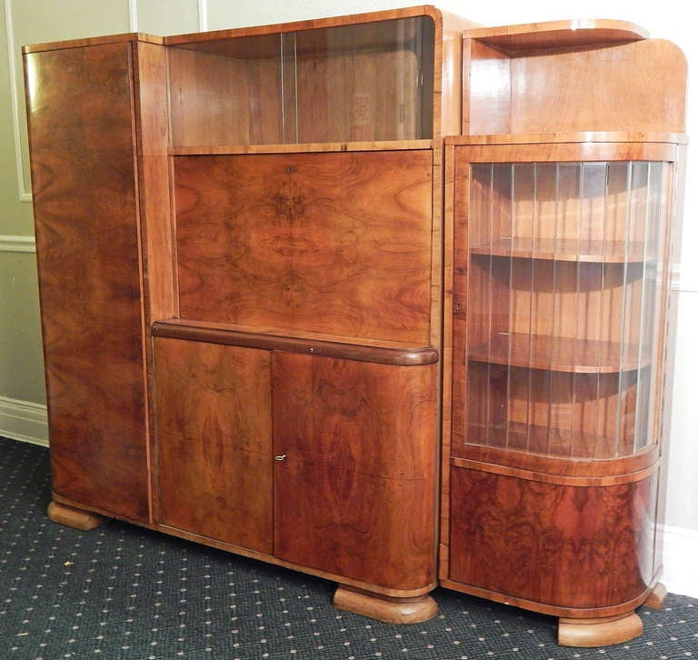 art decomoderne figured walnut cabinet with desk czech 2 art deco figured walnut wardrobe vintage