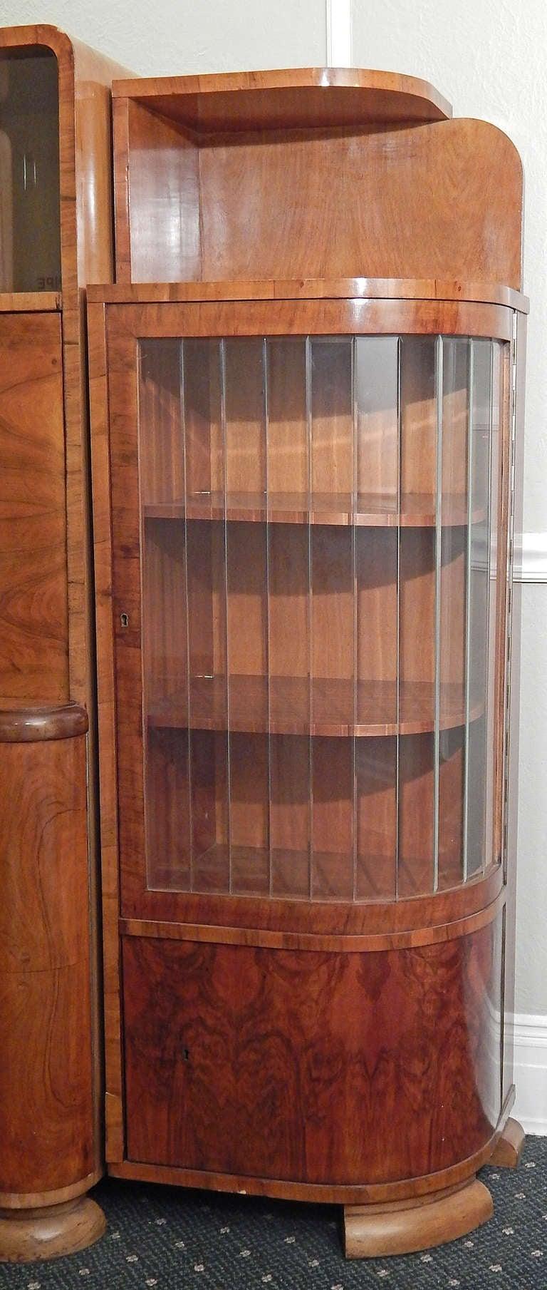 art decomoderne figured walnut cabinet with desk czech 3 art deco figured walnut wardrobe vintage