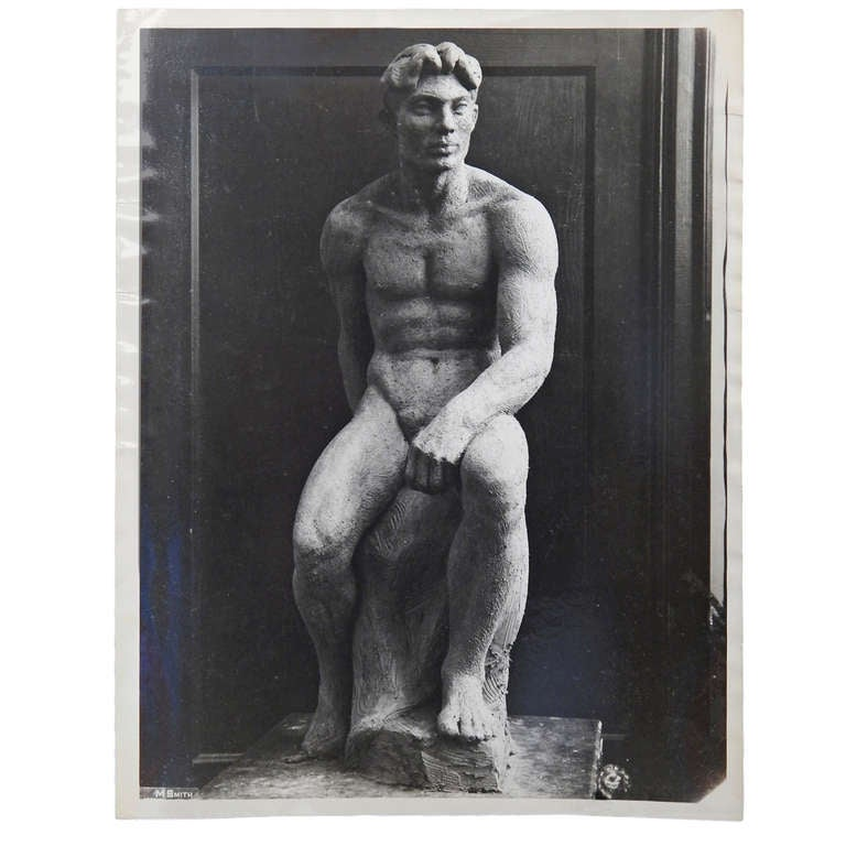 """Seated Figure,"" Important Photograph of Male Nude by Barthe"
