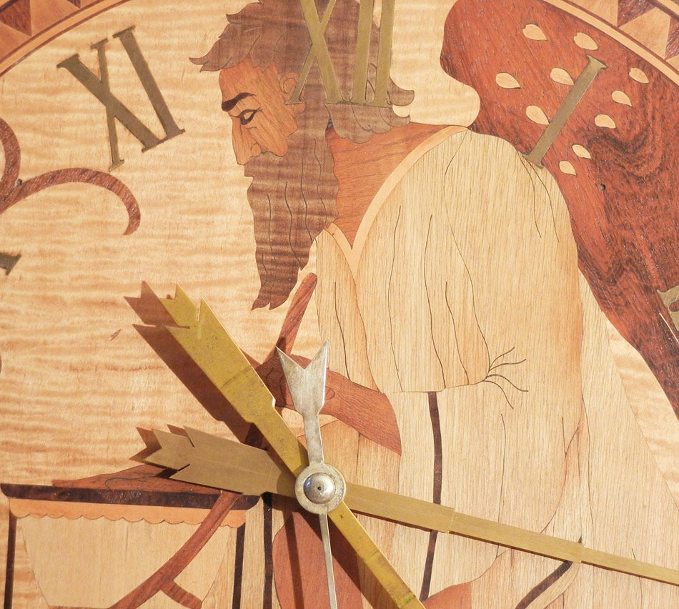 Wood Inlay Wall Decor : Superb unique quot father time art deco clock wood inlay