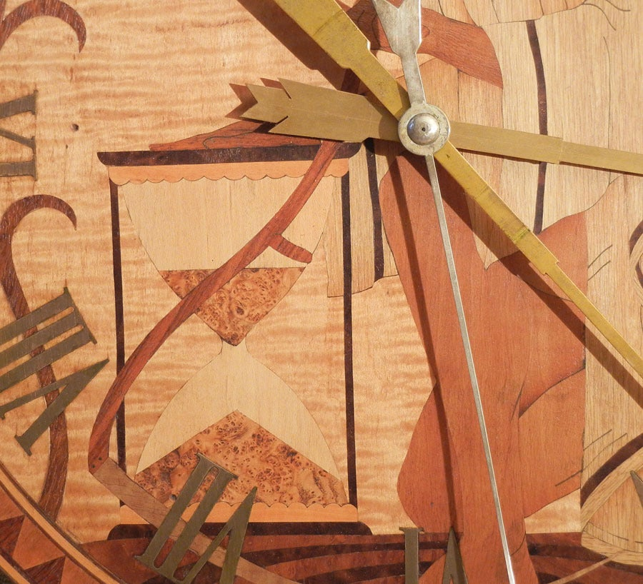 Superb Unique Quot Father Time Quot Art Deco Clock Wood Inlay