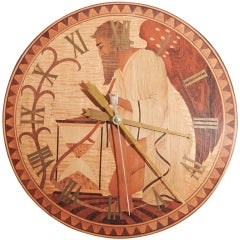 """Superb, Unique """"Father Time"""" Art Deco Clock, Wood Inlay"""