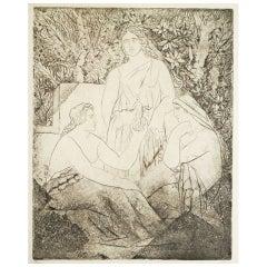 Fine 1930s Print by Deschmacker: Greek Women Contemplating Man