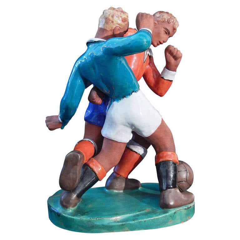 """""""Fighting for the Ball,"""" Large, Art Deco Soccer or Football Sculpture, 1930s"""