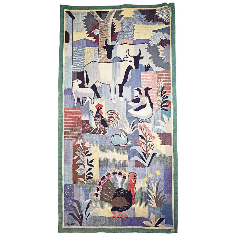 """""""Farm Life,"""" Important, Rare Art Deco Tapestry by Jean Olin, France For Sale"""
