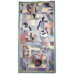 """Farm Life,"" Important, Rare Art Deco Tapestry by Jean Olin, France"
