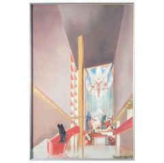 Extraordinary Art Deco Painting of World's Fair Hall, Rosenfeld